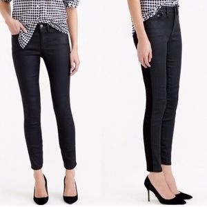 J Crew Toothpick Black Faux Leather & Denim Jean